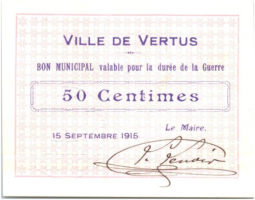 France 50 Centimes Vertus Ville - 1915