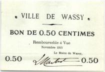 France 50 Centimes Wassy City - 1915