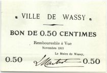France 50 Centimes Wassy Ville - 1915