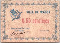 France 50 Centimes Wassy Ville - 1916