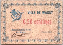 France 50 Centimes Wassy Ville - 1916