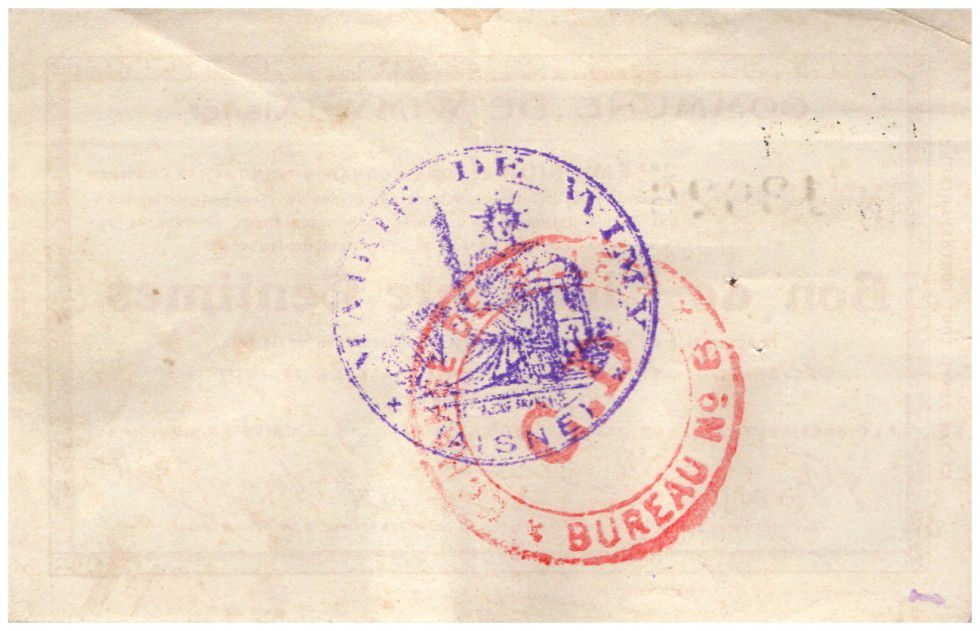 France 50 Centimes Wimy Commune - 1915