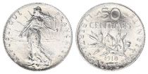 France 50 Cents Semeuse - 1918 - Silver