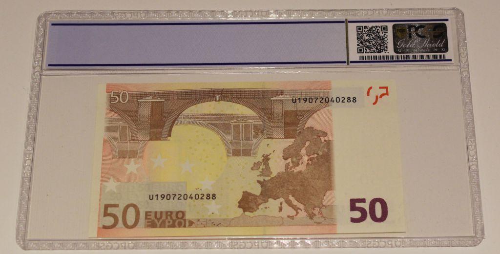 France 50 Euro - Union Européenne - 2002 fauté - PCGS 65 OPQ