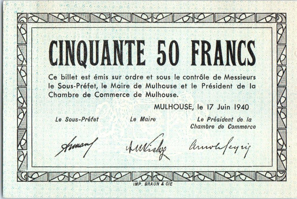 Billet france 50 francs mulhouse chambre de commerce for Chambre de commerce de france