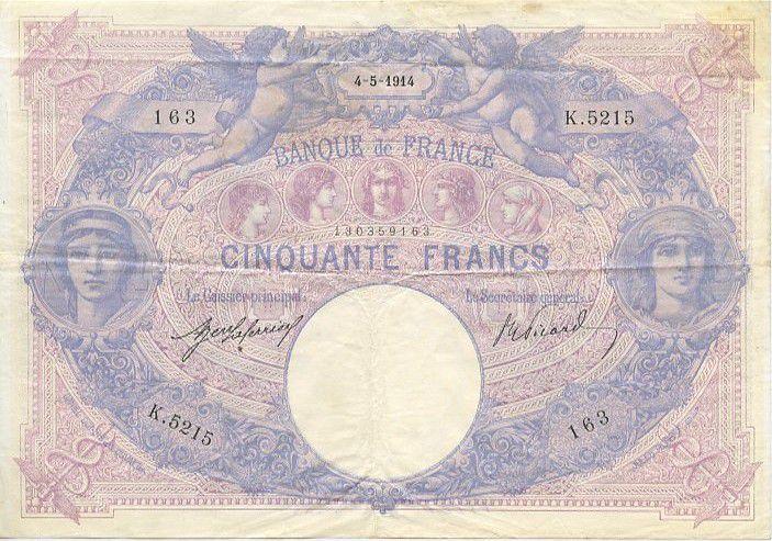 France 50 F Bleu et Rose