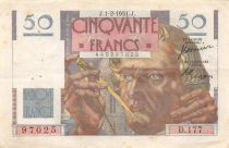 France 50 Francs - Le Verrier 01-02-1951 - Serial D.177 - VF