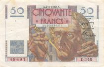 France 50 Francs - Le Verrier 02-03-1950 - Serial D.145 - VF