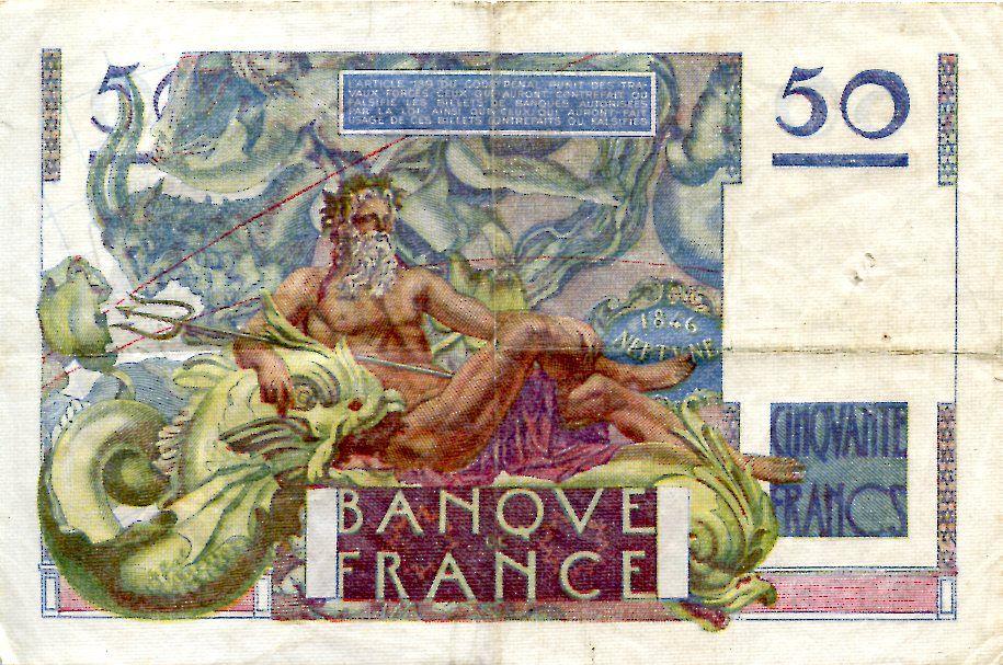 France 50 Francs - Le Verrier 03-11-1949 - Série P.140 - TTB