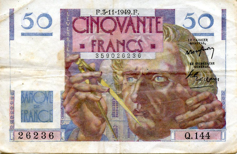 France 50 Francs - Le Verrier 03-11-1949 - Série Q.144 - TTB