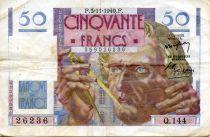 France 50 Francs - Le Verrier 03-11-1949 - Série Q.144 - TTB