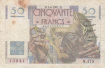 France 50 Francs - Le Verrier 07-06-1951 - Serial N.179