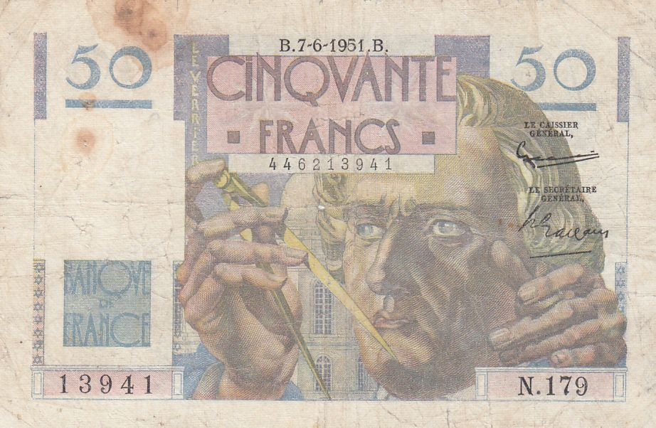 France 50 Francs - Le Verrier 07-06-1951 - Série N.179