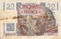 France 50 Francs - Le Verrier 16-05-1946 - Serial D.22 - F+