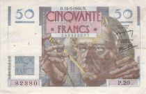 France 50 Francs - Le Verrier 16-05-1946 - Serial P.20 - F to VF