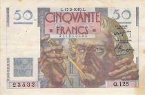 France 50 Francs - Le Verrier 17-02-1949 - Serial Q.125 - VF