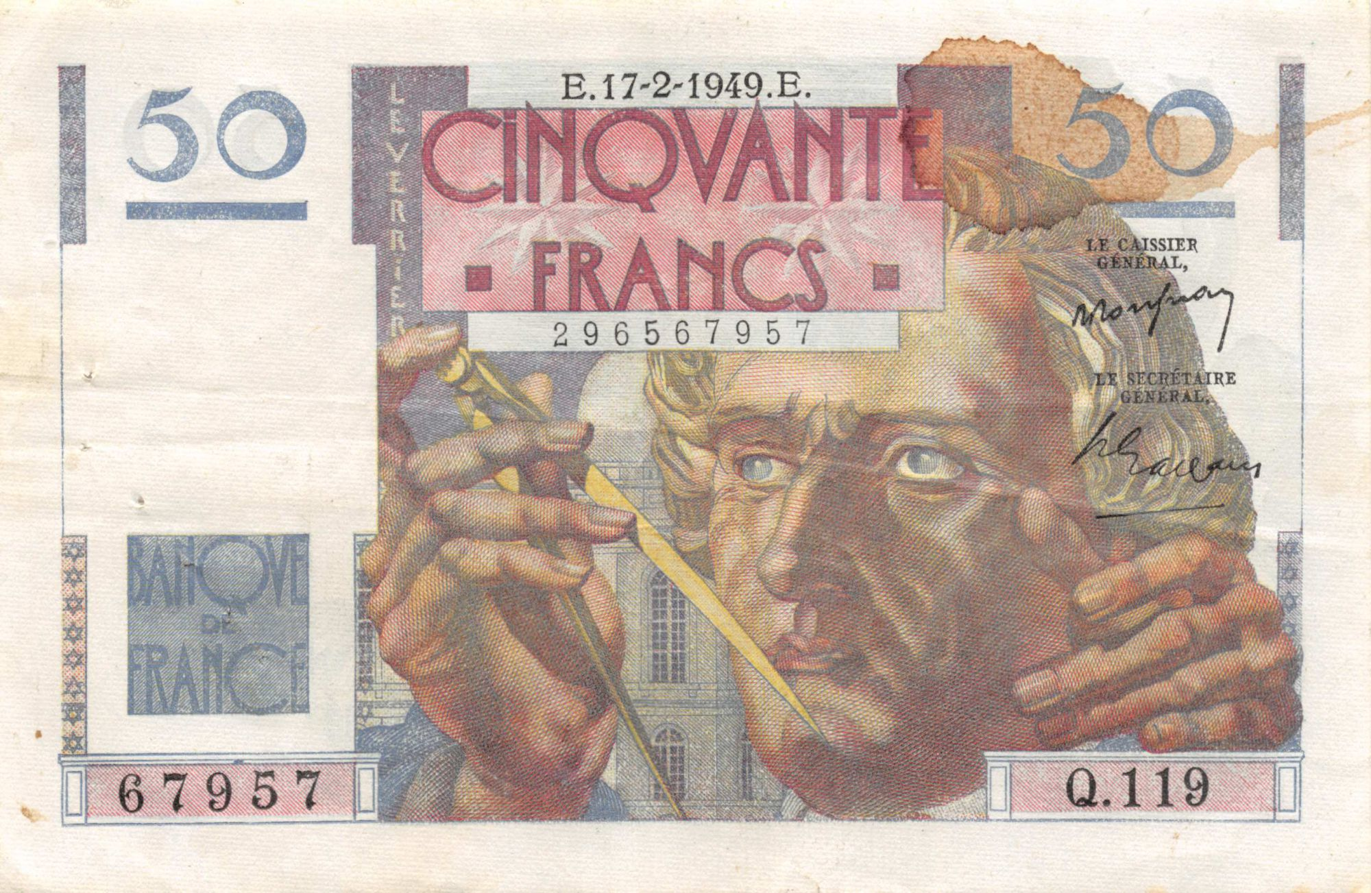 France 50 Francs - Le Verrier 17-02-1949 - Série Q.119 - TTB