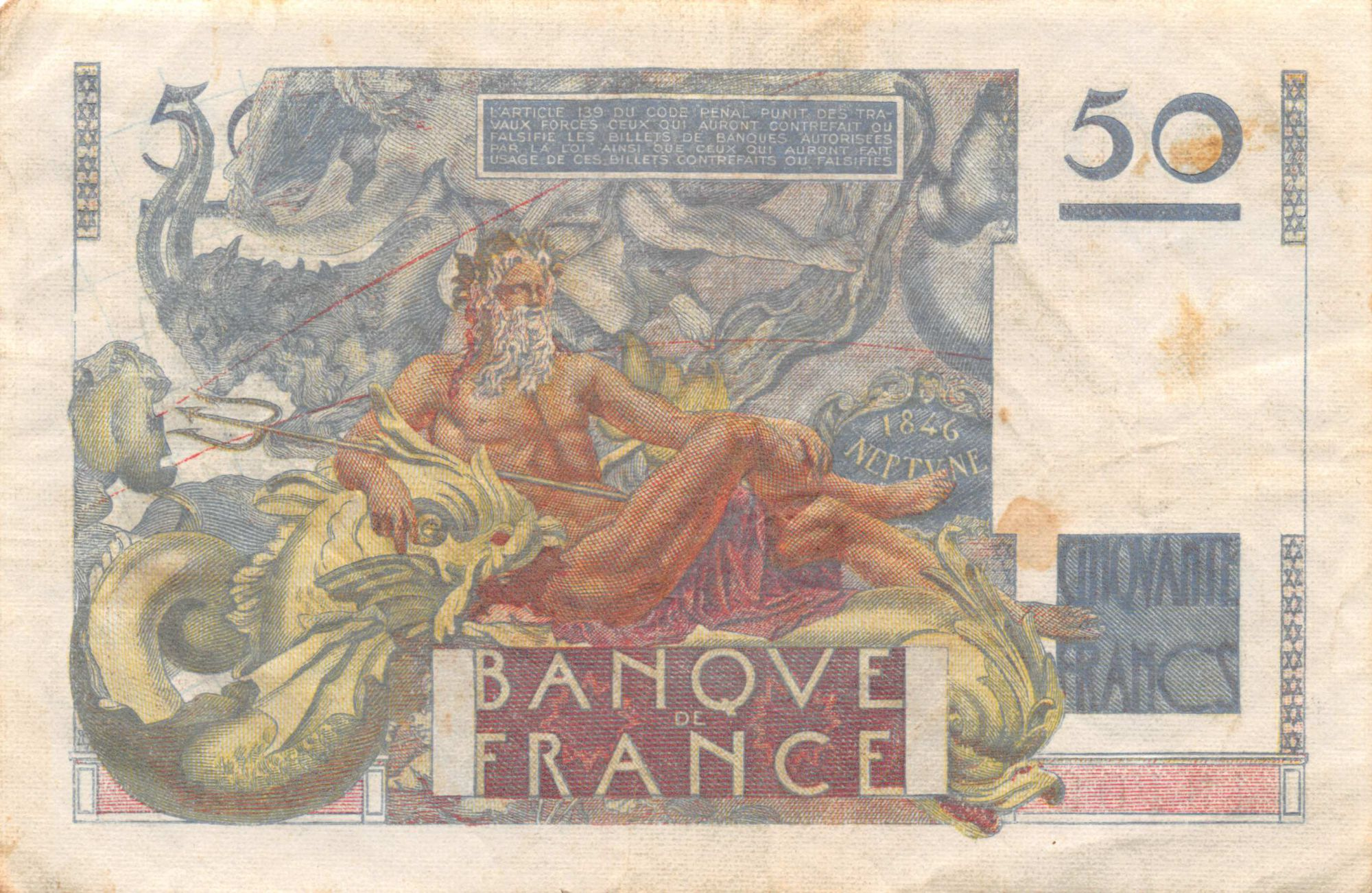 France 50 Francs - Le Verrier 19-05-1949 - Serial V.135 - VF