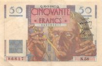 France 50 Francs - Le Verrier 20-03-1947 - Serial N.58 - VF