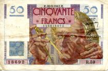 France 50 Francs - Le Verrier 20-03-1947 - Serial R.59 - VF