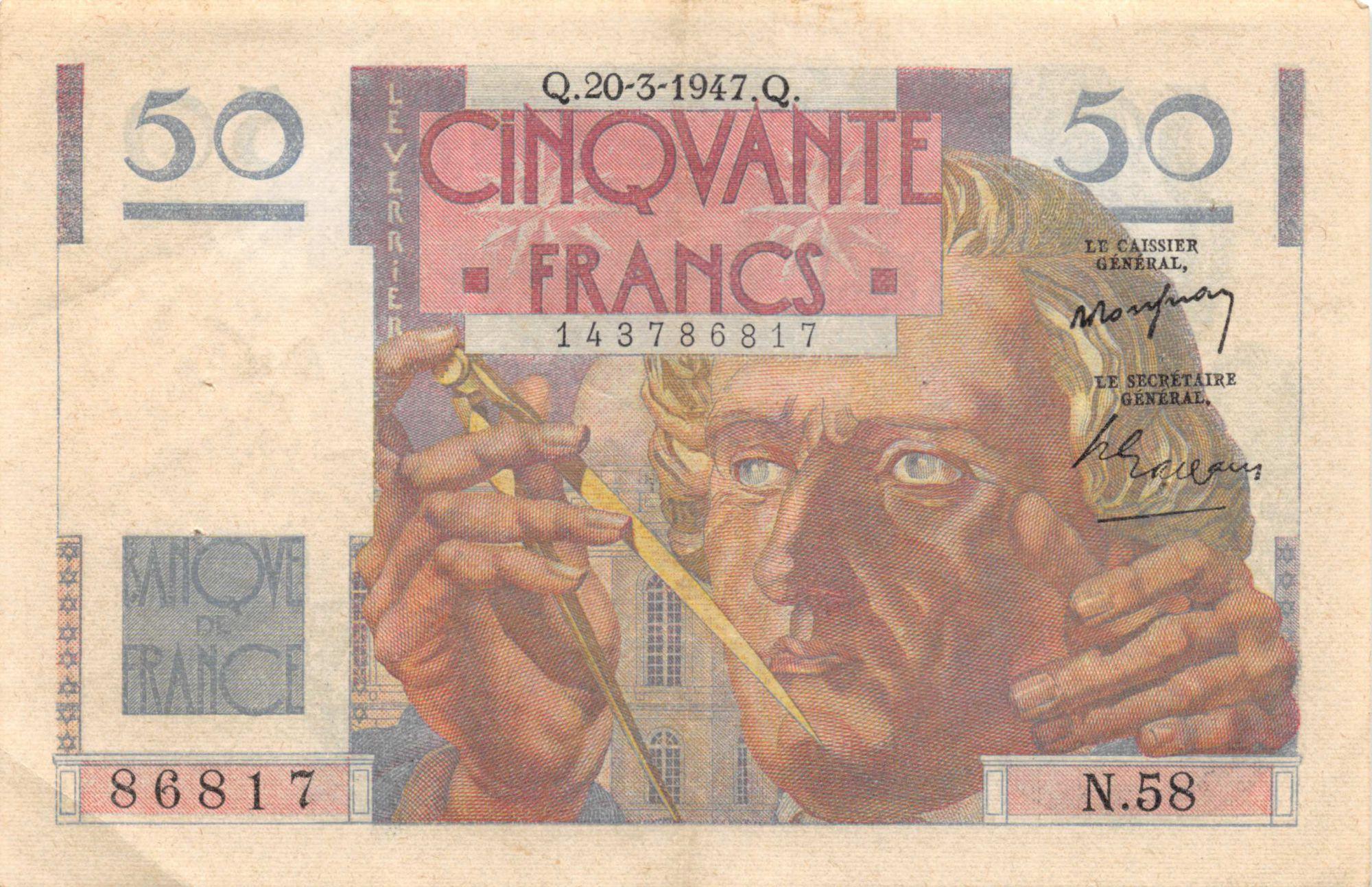 France 50 Francs - Le Verrier 20-03-1947 - Série N.58 - TTB