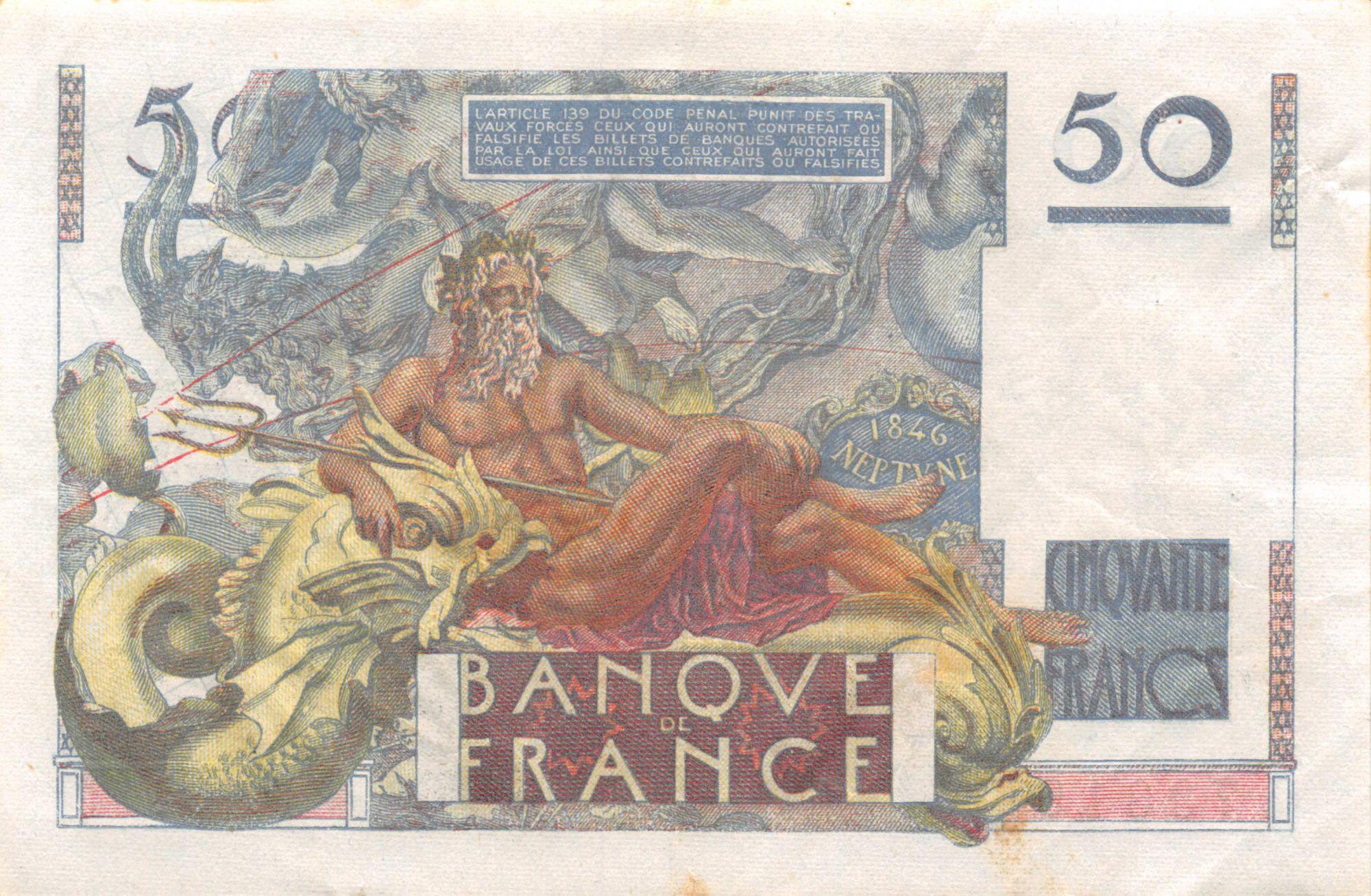 France 50 Francs - Le Verrier 24-08-1950 - Série P.164 - TTB