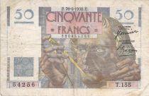 France 50 Francs - Le Verrier 29-06-1950 - Serial T.155 - F