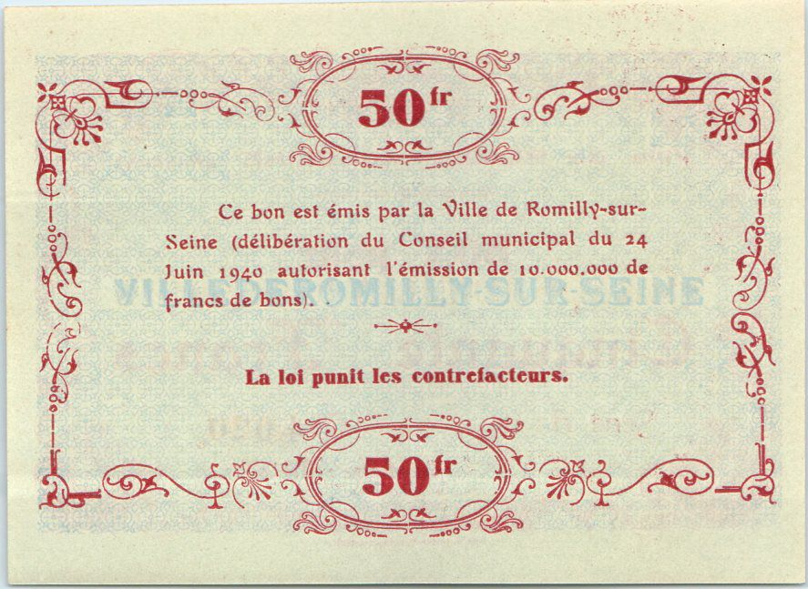 France 50 Francs , Romilly-sur-Seine Série A