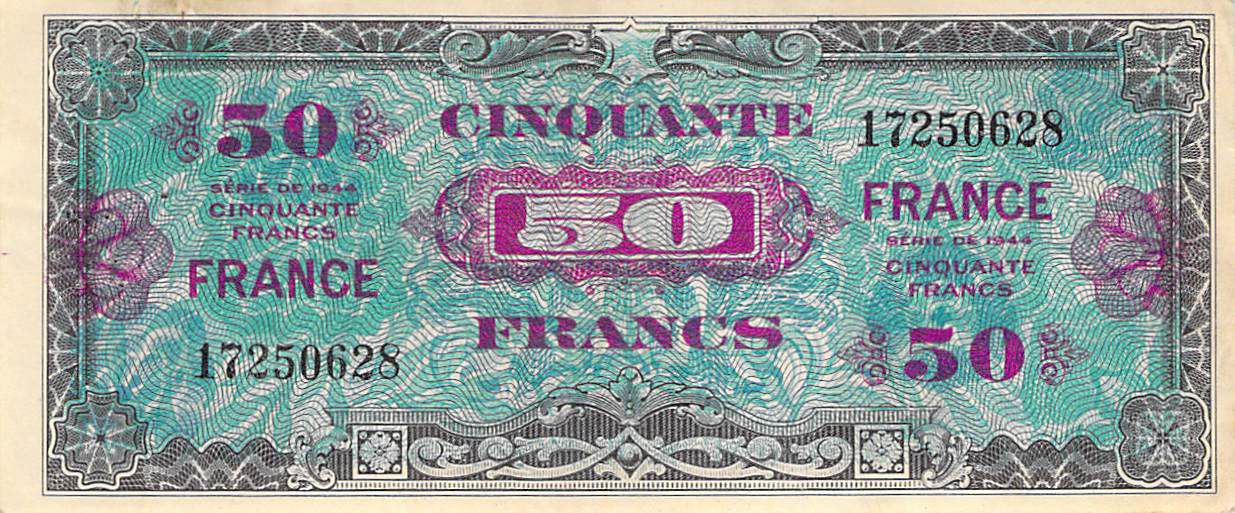 France 50 Francs Allied Military Currency - 1945 No Serial - VF