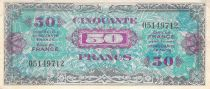 France 50 Francs Allied Military Currency (Flag) - 1944 No Serial - VF