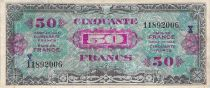 France 50 Francs Allied Military Currency (Flag) - 1944 Serial X - VF