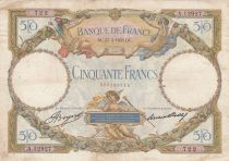 France 50 Francs Angels - Mercury - 23-03-1933 Série A.12927 - F to VF