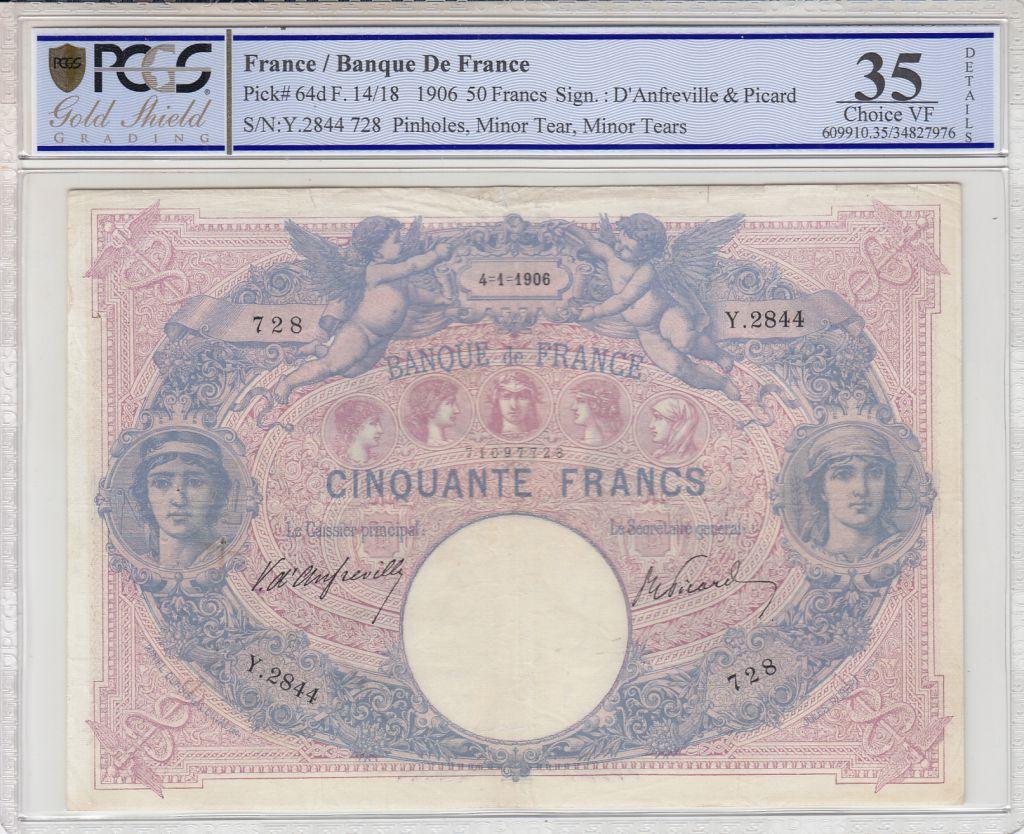 France 50 Francs Bleu et Rose - 10-05-1906 - PCGS VF35