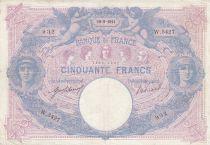 France 50 Francs Bleu et Rose - 10-09-1914 Série W.5427- TTB