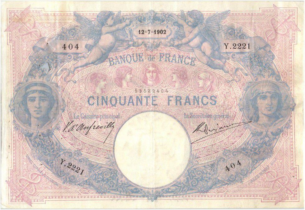 France 50 Francs Bleu et Rose - 12-074-1902 Série Y.2221