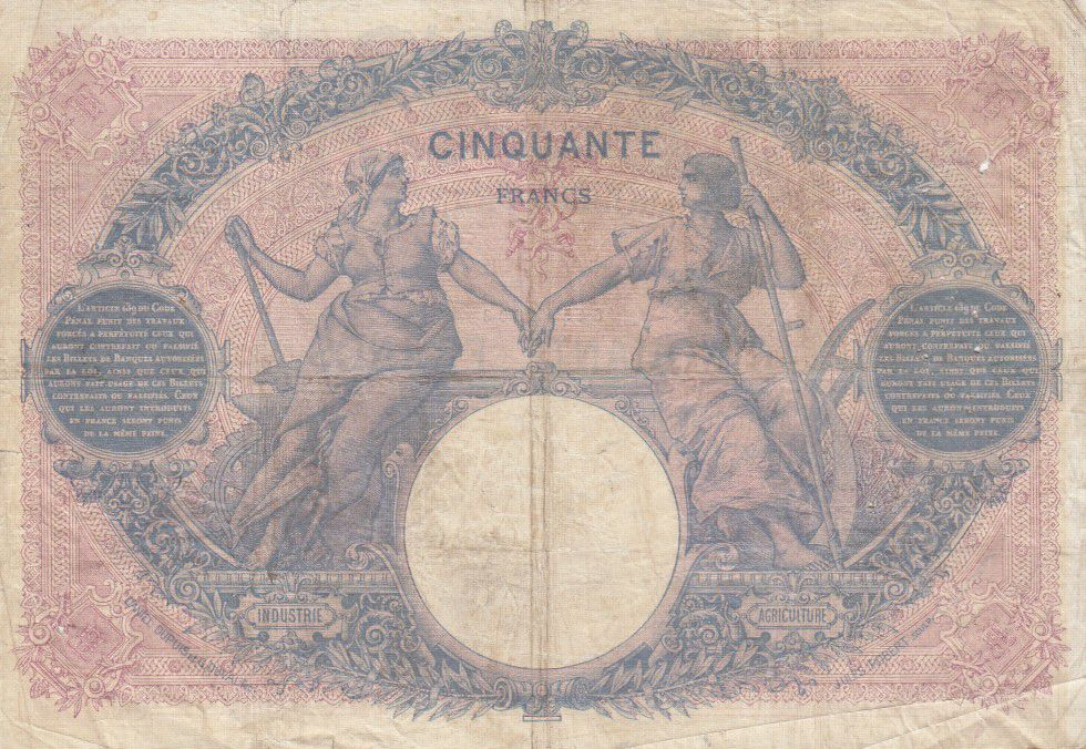 France 50 Francs Bleu et Rose - 14-09-1904 Série G.2582
