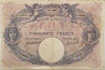 France 50 Francs Bleu et Rose - 19-04-1918 Série S.8003 - TB