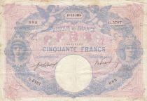 France 50 Francs Bleu et Rose - 19-12-1914 Série G.5787 - TB