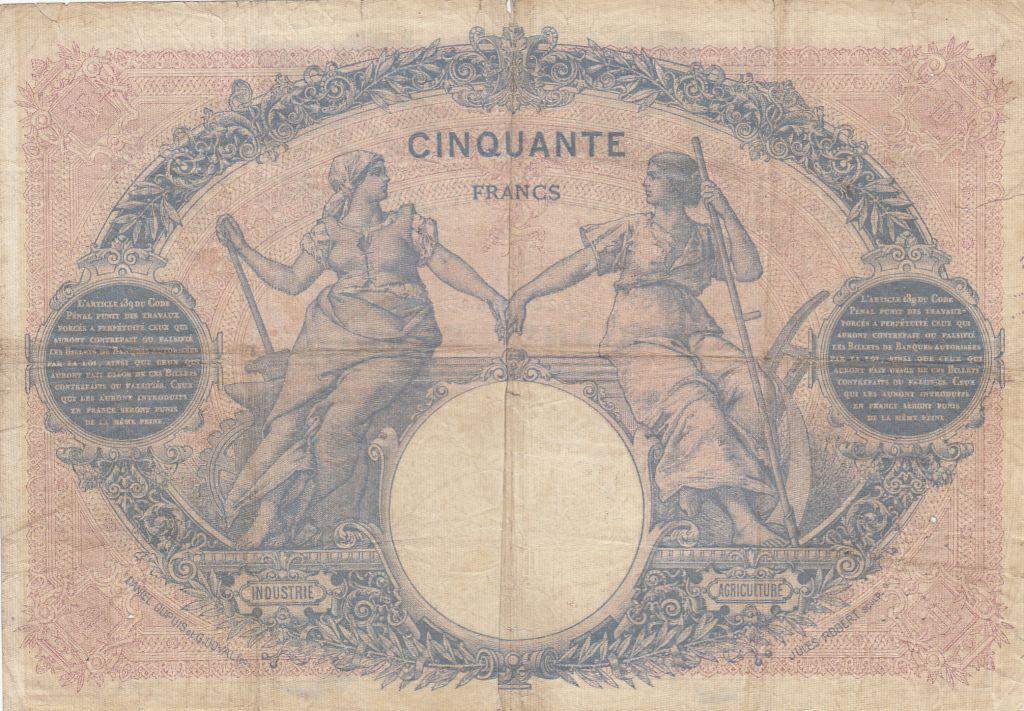 France 50 Francs Bleu et Rose - 1901