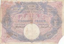 France 50 Francs Blue and Pink -  04-02-1915 Serial G.6055 - VG