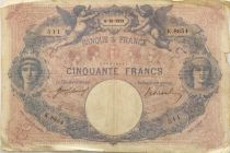 France 50 Francs Blue and Pink -  06-10-1919 Serial K.8654 - F