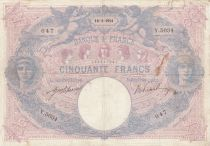 France 50 Francs Blue and Pink -  16-01-1914 Serial Y.5034