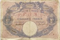France 50 Francs Blue and Pink -  17-08-1916 Serial R.6986 - VG to F