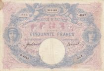 France 50 Francs Blue and Pink -  23-09-1913 Serial D.4842 - F to VF