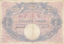 France 50 Francs Blue and Pink - 10-02-1913 Serial M.4539 - F to VF