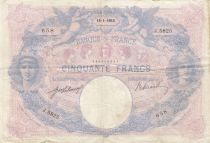 France 50 Francs Blue and Pink - 15-01-1915 Serial J.5825 - F to VF