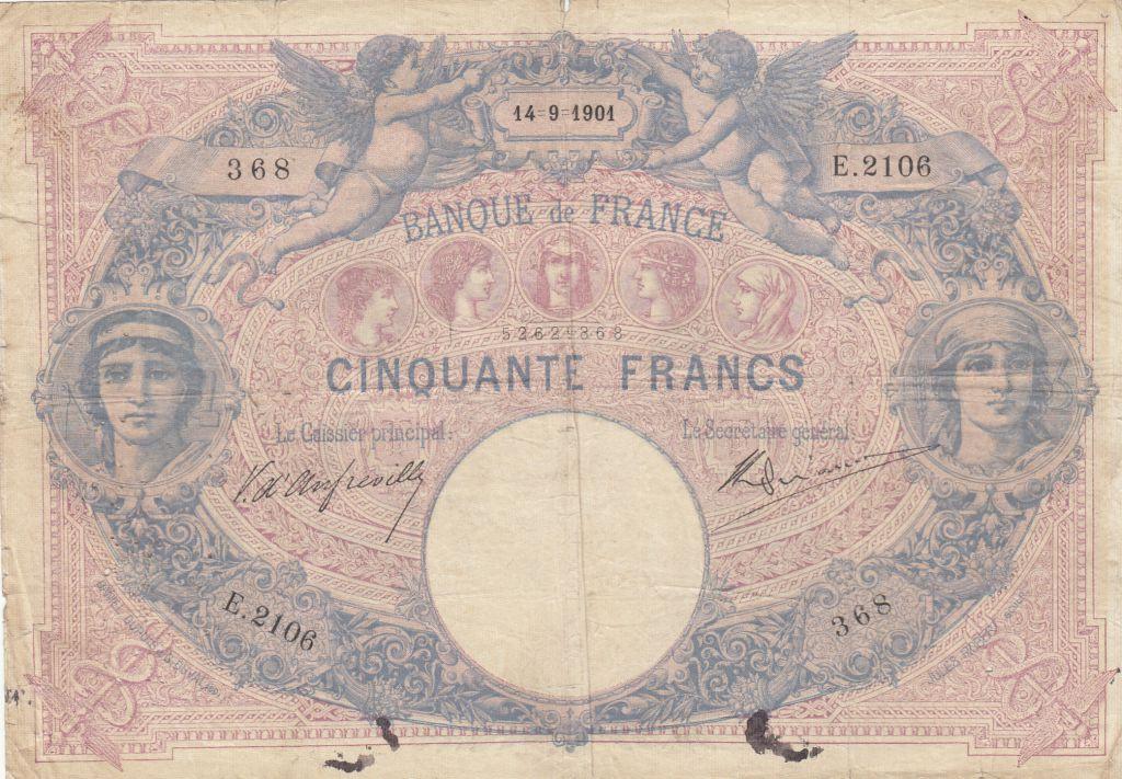 France 50 Francs Blue and Pink - 1901