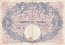 France 50 Francs Blue and Pink - 1918 Serial Z.8120
