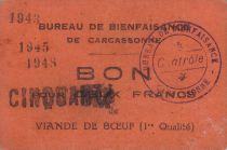 France 50 Francs Carcassonne Bon pour 50Frs de viande