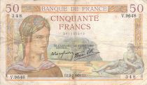 France 50 Francs Ceres - 02-02-1939 - Serial V.9648 - VG to F